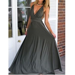Dresses & Skirts - Deep Grey Muti-Way Convertible Halter Maxi Dress